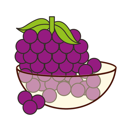 bowl crystal with bunch grapes bowl crystal with bunch grapes vector illustration