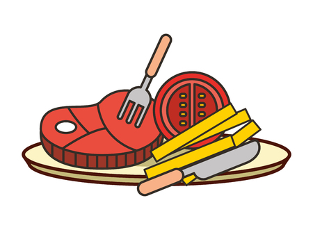 meat steak with tomato french fries fork on dish  vector illustration