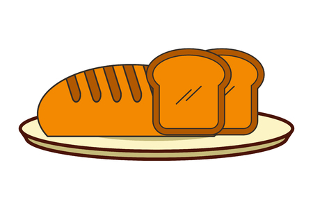 fresh bread slices on dish  vector illustration