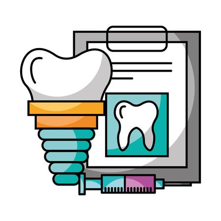 tooth implant check up syringe hygiene dental care vector illustration