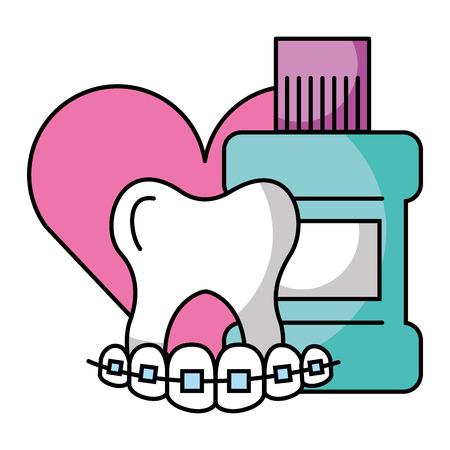 teeth braces mouthwash hygiene dental care vector illustration