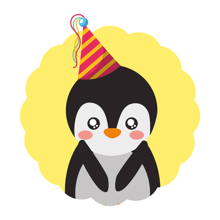cute penguin birthday party hat vector illustration Foto de archivo - 109675923