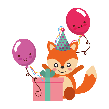 cute fox gift balloon kawaii birthday vector illustration