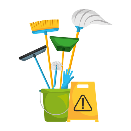 bucket with mop brush broom dustpan glove warning board cleaning vector illustration Stock Illustratie