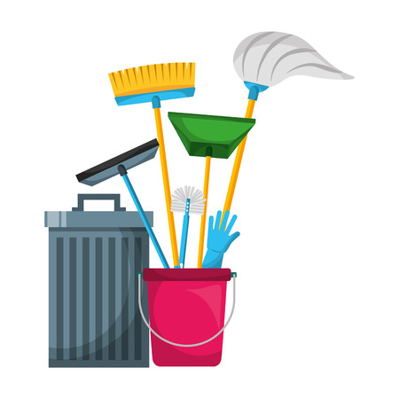 trash can bucket broom brush gloves tools cleaning vector illustration