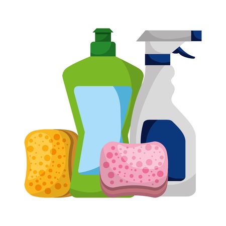 bottles detergent spray sponges cleaning vector illustration