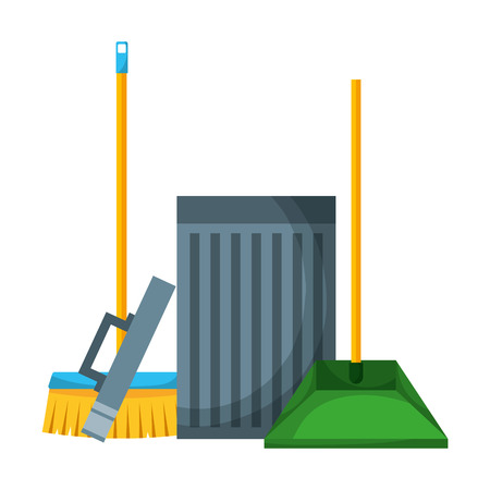 trash can broom dustpan supplies cleaning vector illustration