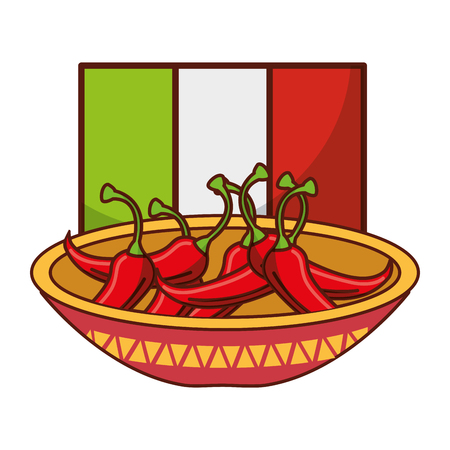 bowl with chili pepper flag mexican food traditional vector illustration Illustration