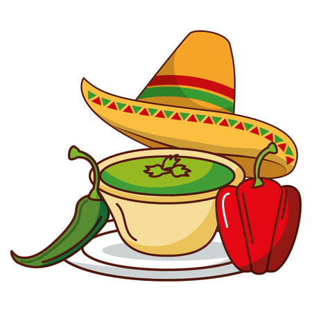chili pepper guacamole hat mexican food traditional vector illustration