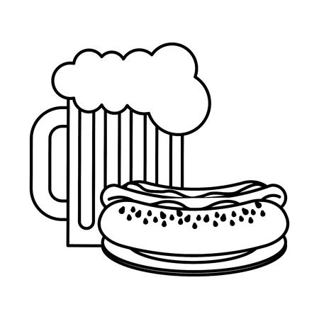 hot dog beer glass fast food vector illustration