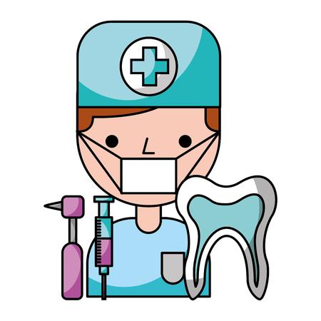 dentiste homme dent outils hygiène illustration vectorielle dentaire