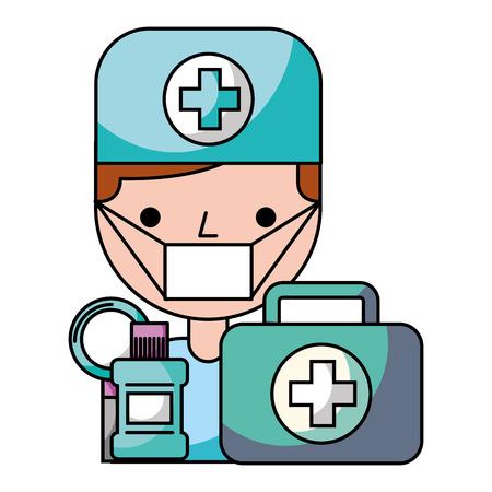 dentist  man mouthwash kit hygiene dental vector illustration
