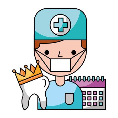 dentist man tooth crown calendar hygiene dental vector illustration