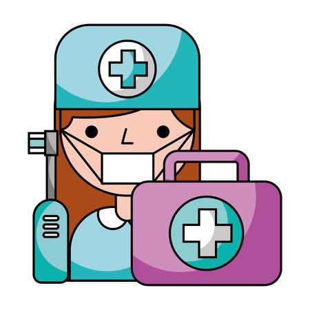 dentist woman electric brush and kit hygiene dental vector illustration
