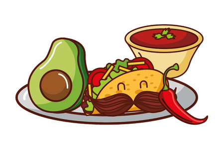 taco avocado and tomato sauce mexican food traditional vector illustration