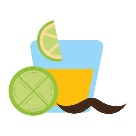 tequila in glass drink slice lemon mexican vector illustration