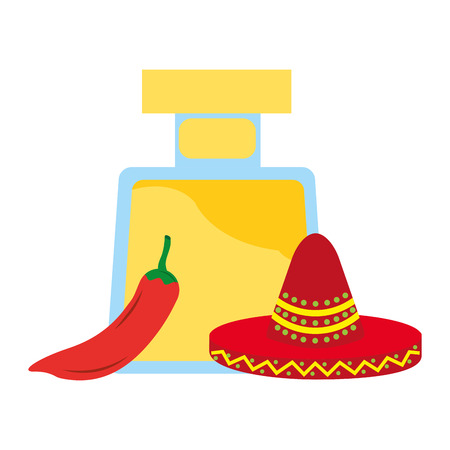 tequila bottle drink chili pepper and hat mexican vector illustration