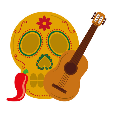 mexican skull guitar and chili pepper vector illustration