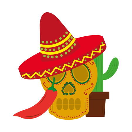 mexican skull hat cactus and chili pepper vector illustration