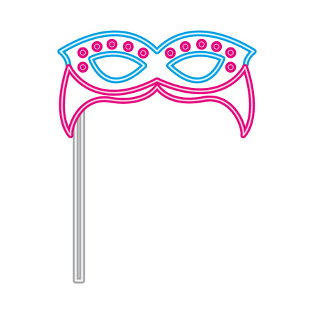 party carnival mask neon on sitck vector illustration 일러스트