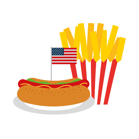 hot dog french fries flag american food celebration vector illustration