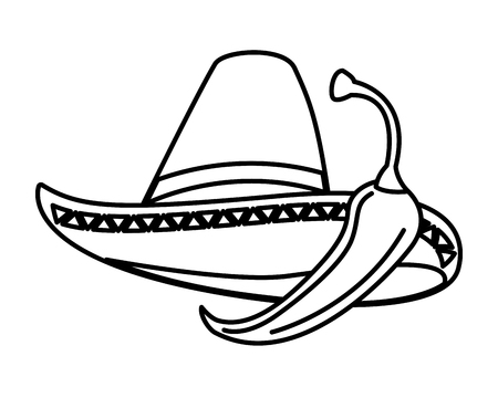 chili pepper and hat mexican food traditional vector illustration Illustration