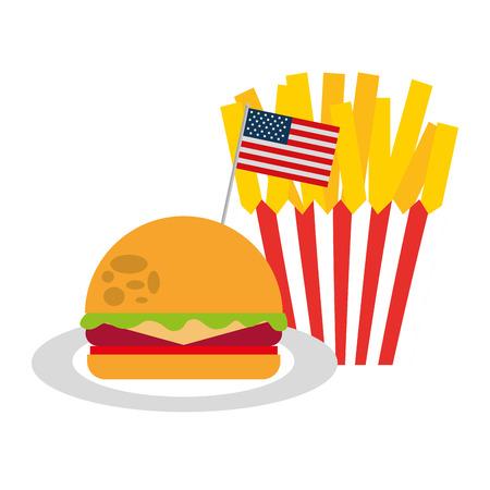 burger and french fries flag american food celebration vector illustration Illusztráció