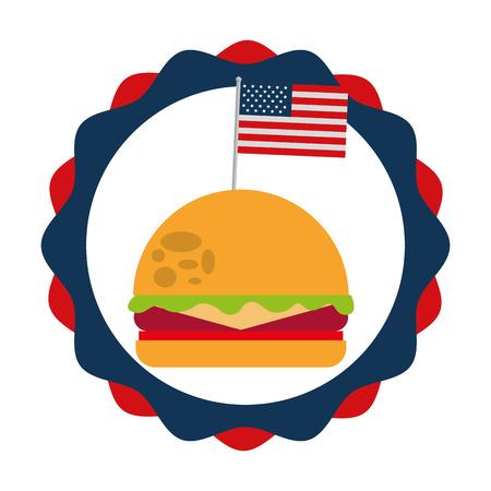 burger and flag american food celebration vector illustration Illustration