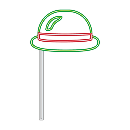 party hat carnival neon on sitck vector illustration Illustration