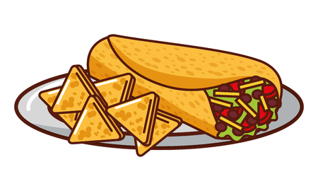 burrito and nachos mexican food traditional vector illustration Illustration
