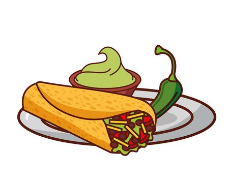 burrito guacamole and chili pepper mexican food traditional vector illustration