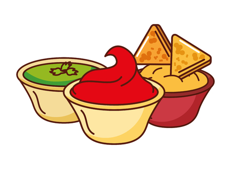nachos cheese guacamole and chili mexican food traditional vector illustration