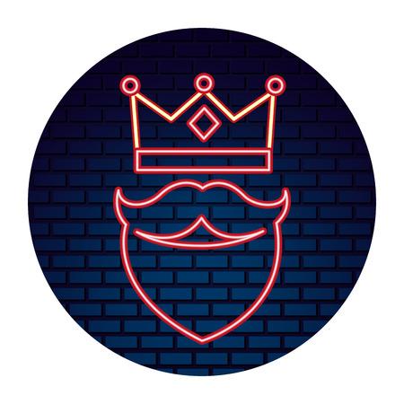 crown beard neon brick wall label vector illustration Illustration