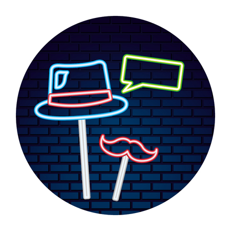 hat mustache speech bubble party neon brick wall vector illustration