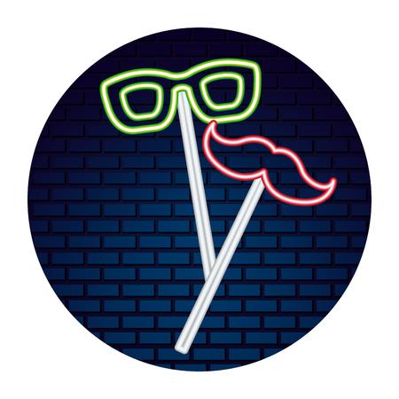glasses mustache party neon brick wall vector illustration