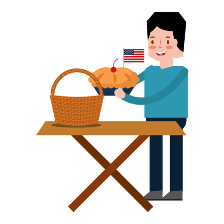 man cartoon with food american independence day vector illustration
