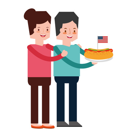 couple in picnic american independence celebration vector illustration 向量圖像