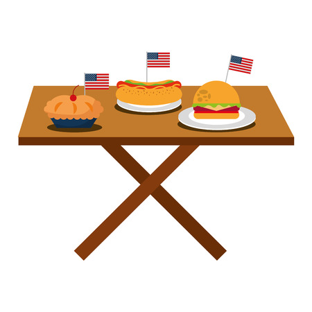 flag american independence day table burger hot dog cake vector illustration