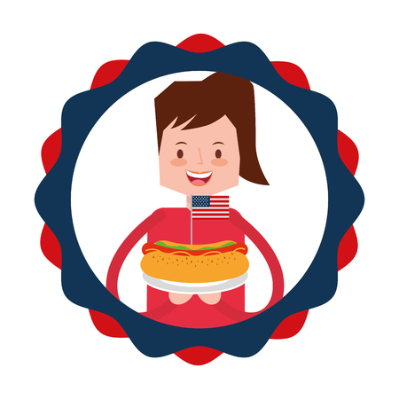 woman cartoon food american independence day vector illustration 向量圖像