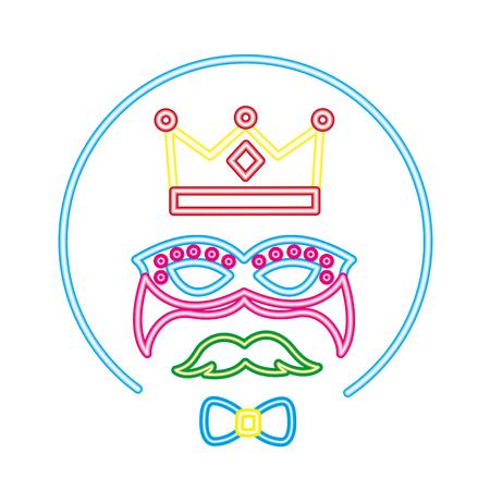 crown mask mustache bowtie neon label vector illustration