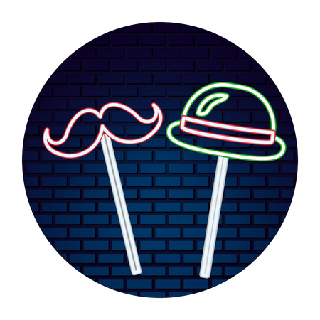 party hat mustache neon brick wall vector illustration
