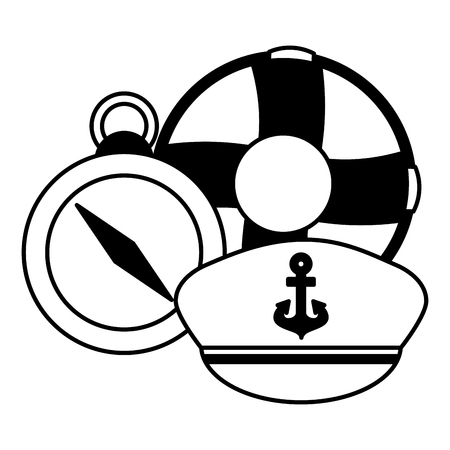 maritime compass hat and lifebuoy vector illustration Çizim