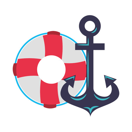 maritime anchor and lifebuoy navy vector illustration