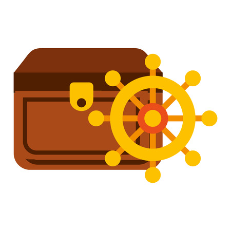 treasure chest ship helm maritime vector illustration Illustration