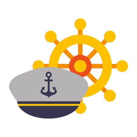 marine ship helm and hat uniform vector illustration Illustration