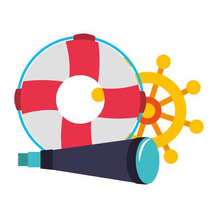 marine spyglass ship helm and lifebuoy vector illustration Illustration