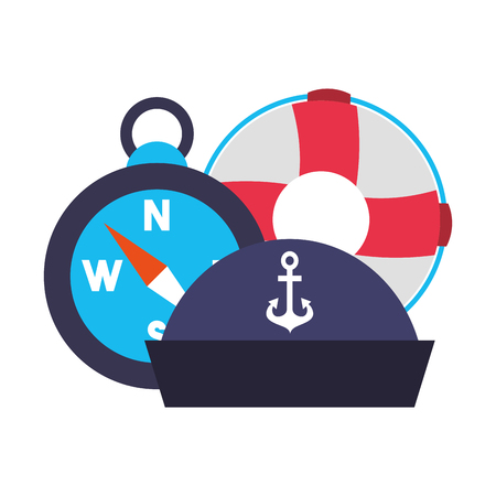 marine lifebuoy compass and hat vector illustration Vectores