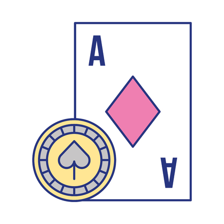 card ace chip casino game bet vector illustration