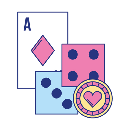 ace card dices chip poker casino game vector illustration