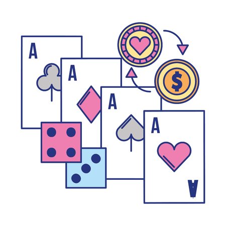 aces card dices coin chip casino game vector illustration Foto de archivo - 109677737